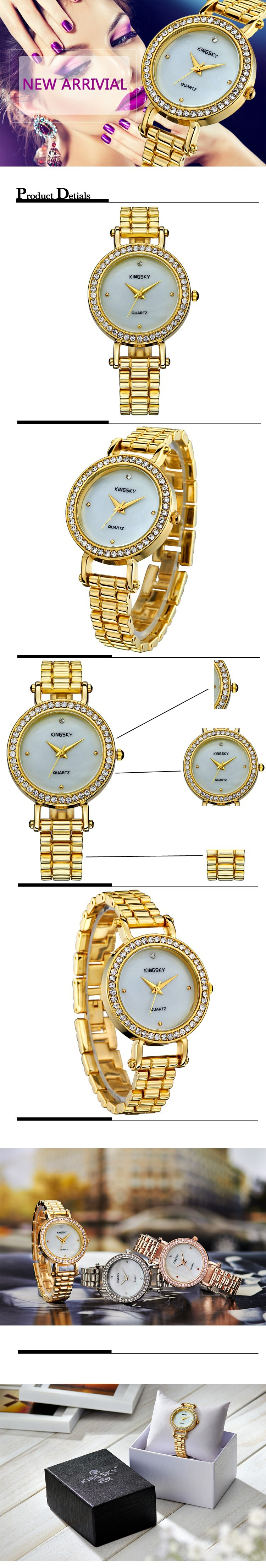 Free shipping today - K021062 KINGSKY Watch Lady Watch Gold Diamond Case White Dial Alloy Band Analog Gold Band Japan Quartz for Fashion occations