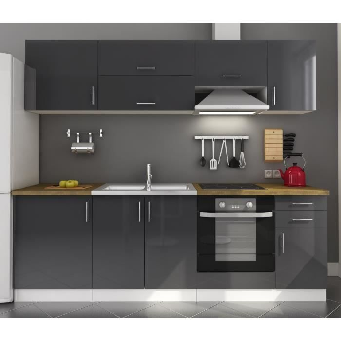 arty cuisine compl te laqu gris 240cm achat vente cuisine compl te arty cuisine gris 240cm. Black Bedroom Furniture Sets. Home Design Ideas