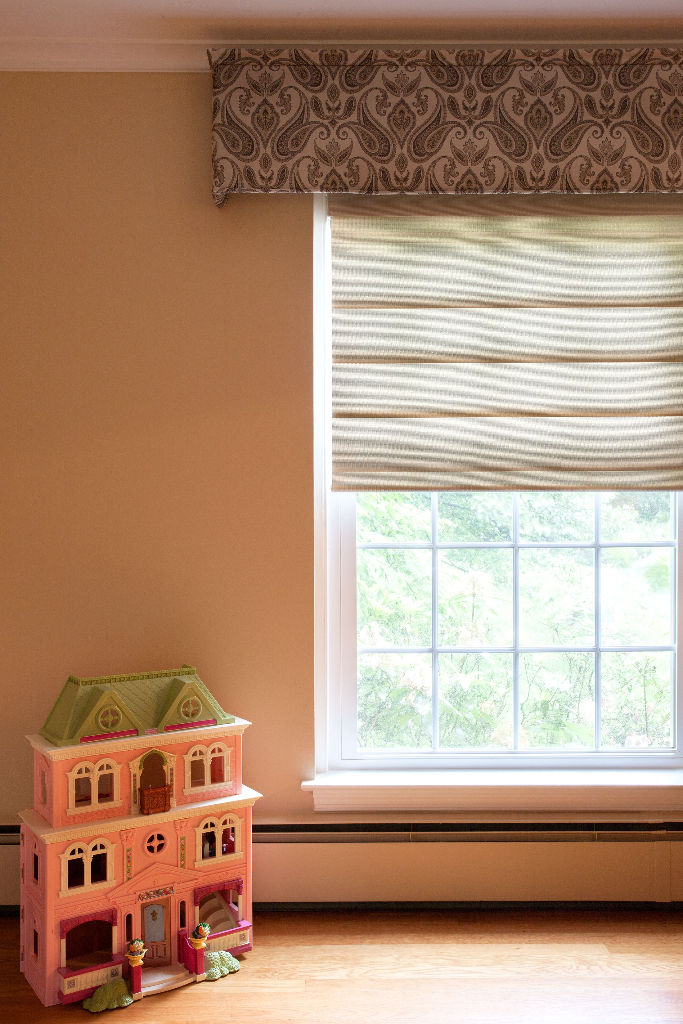 Kids Playroom W Designer Roller Shades And Custom Fabric Valance