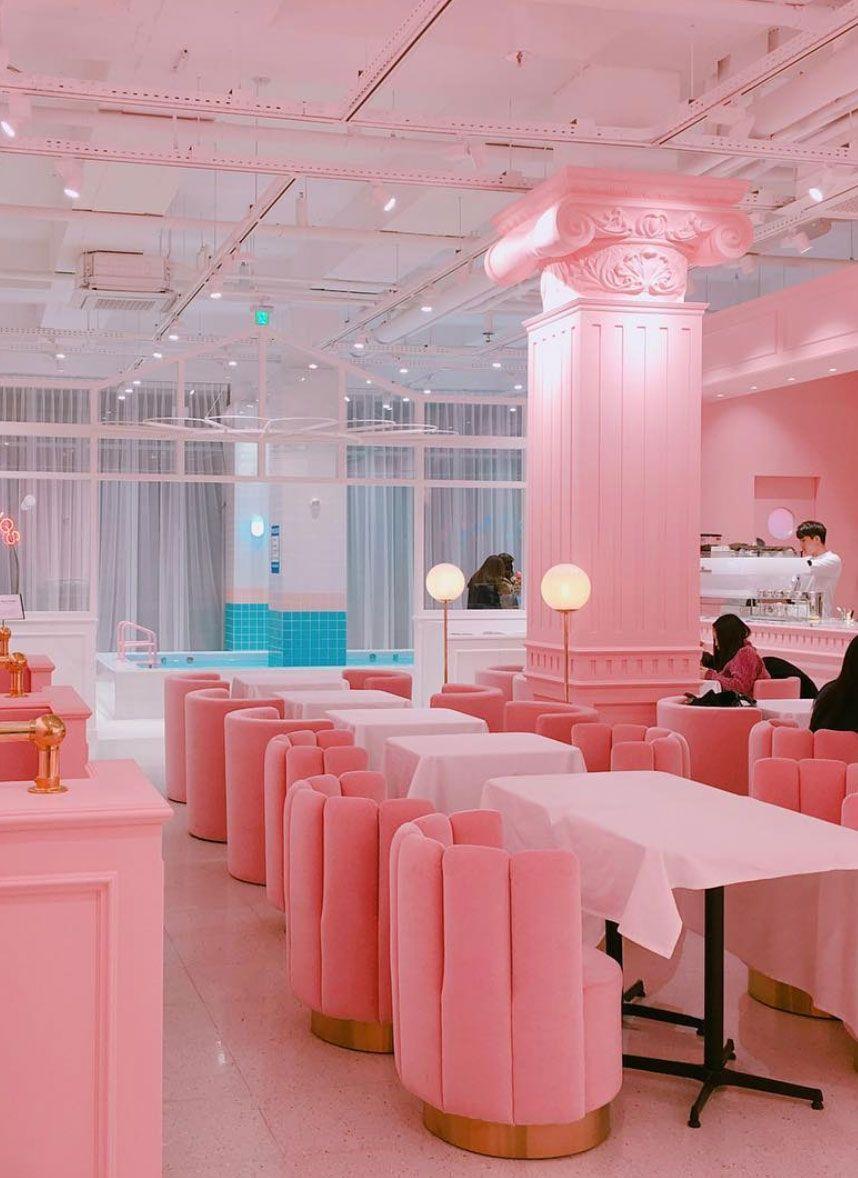inspiring pink interior of the pink pool cafe. / sfgirlbybay