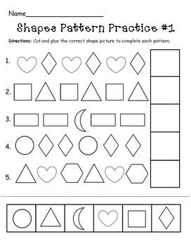 Shapes Pattern Practice Page Preschool Patterns Math Patterns