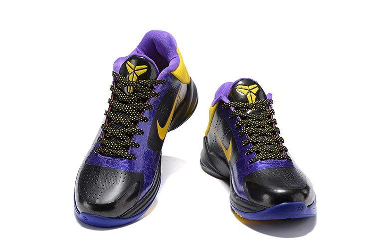 save off df90a f2f1f Authentic 2018 Nike Zoom Kobe V 5 Lakers Away Black Del Sol Varsity Purple  386429 071