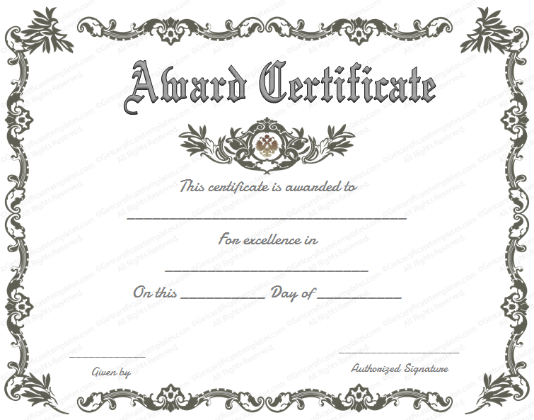 Blank award certificate template for Word. Chose from several free ...