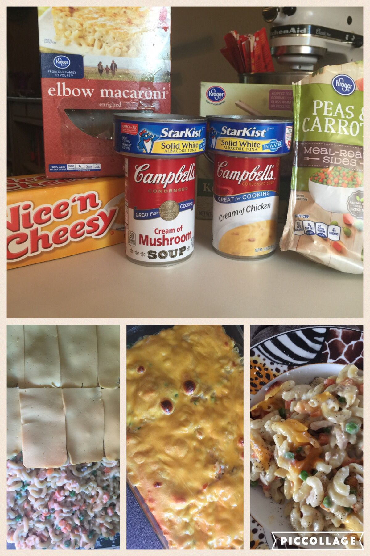 easy & cheap tuna noodle casserole. elbow macaroni cooked