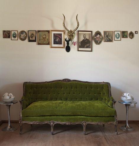 Vintage Photos Antlers And Velvet Interior Green Sofa Home Decor