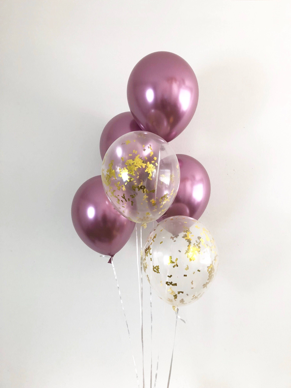 6 x Pink Confetti Print Balloons Wedding Birthday Hen Party Decorations