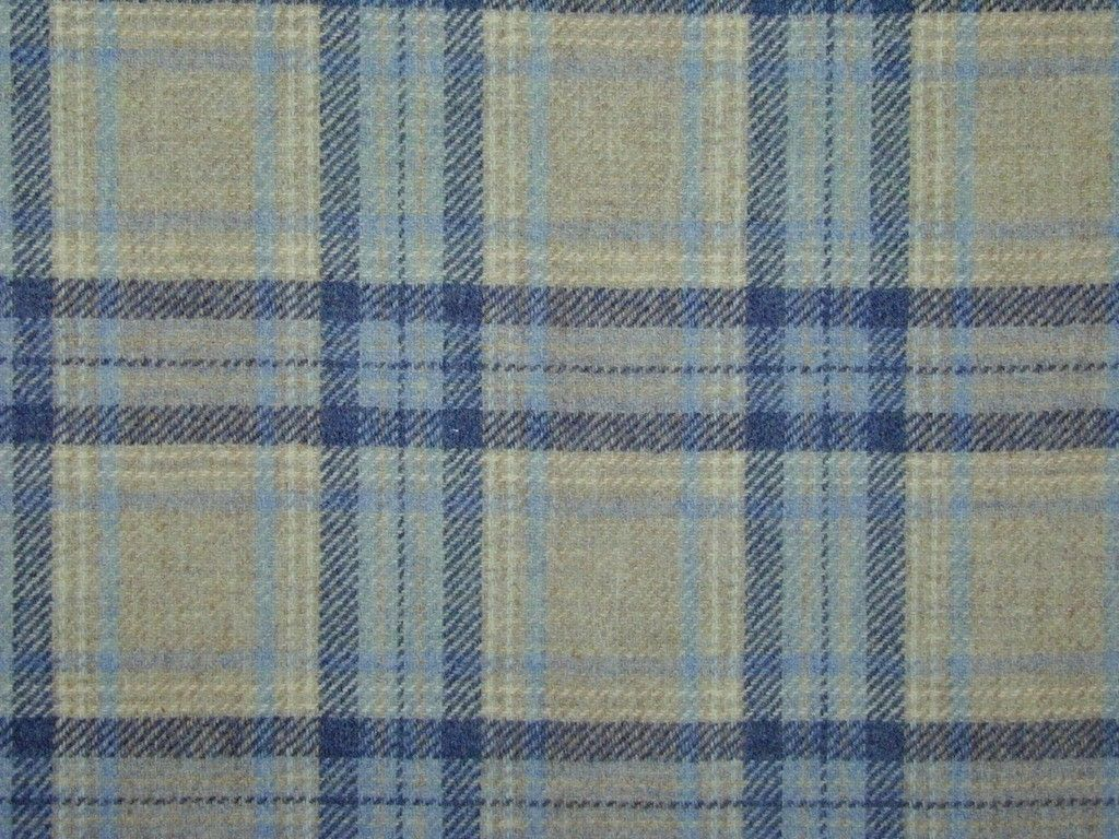 Highland Wool Tartan Check Natural Blue Navy Curtain Light Upholstery Fabric The Mill Online