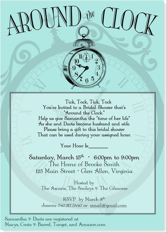 Around The Clock Bridal Shower Invitation Printable