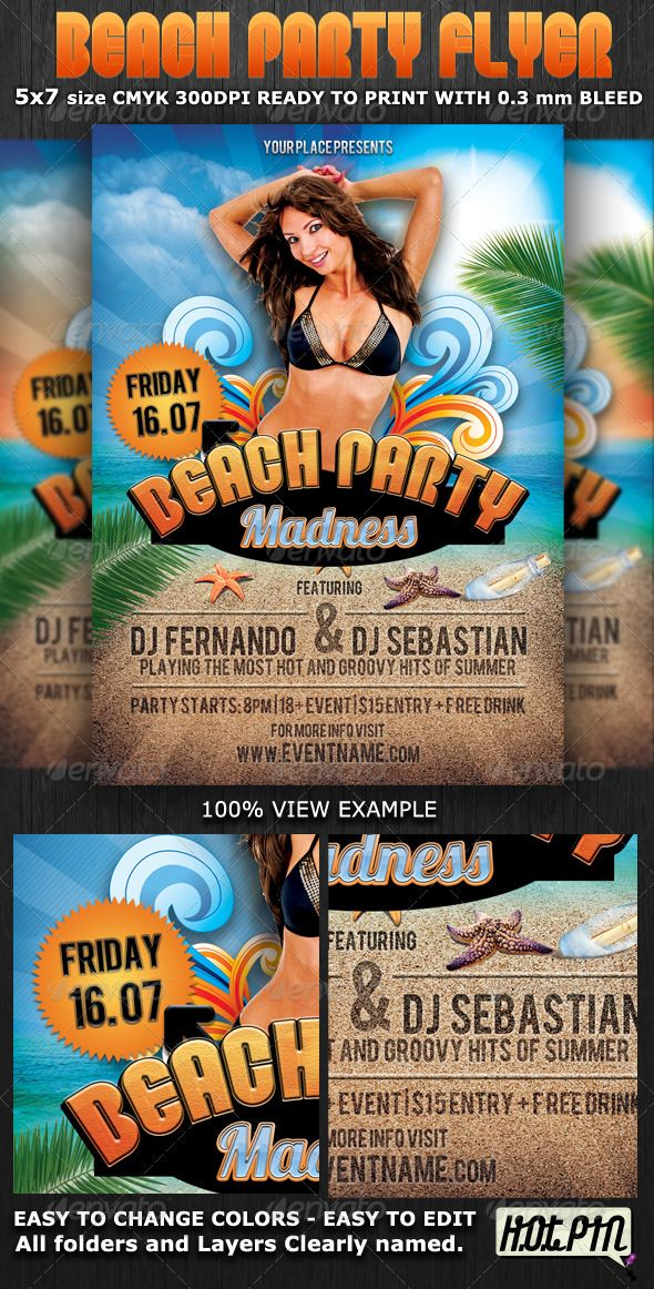 Summer Beach Party Flyer Template Summer beach party, Party - beach party flyer template
