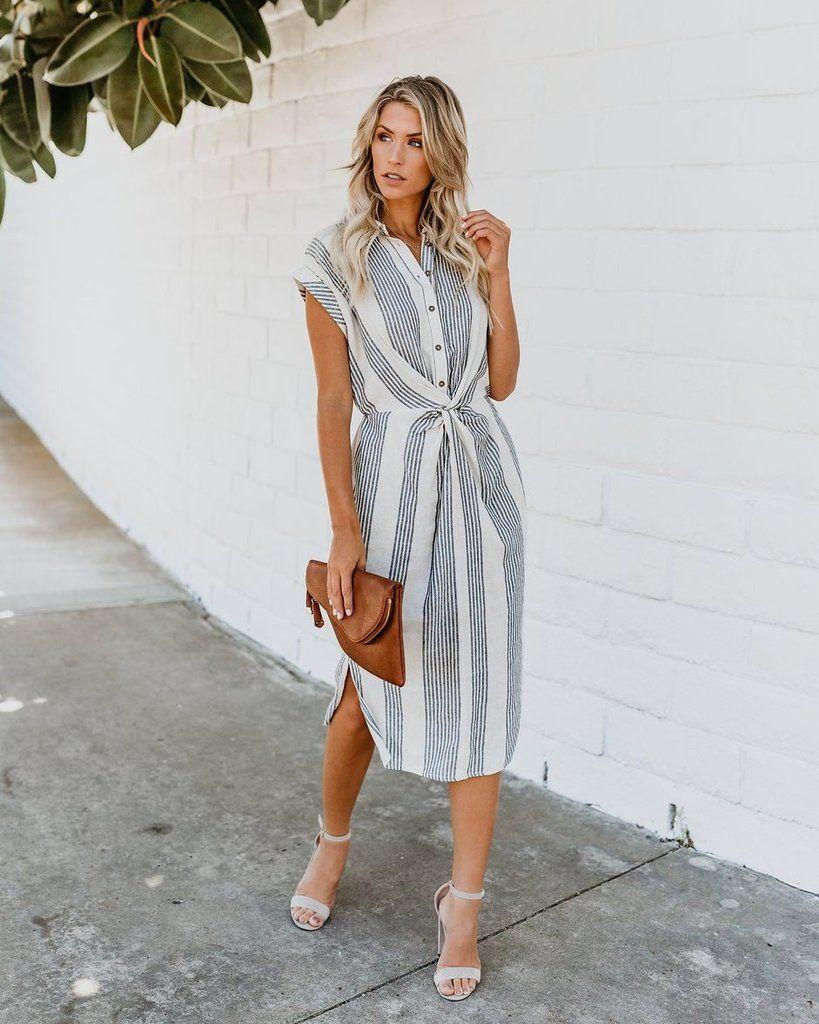 Connie Striped Twist Midi Dress Dresses, Classy dress