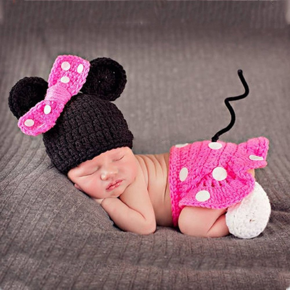 Disney Pink Mini Mouse Crochet Set Baby Girl Costume for Photography ...