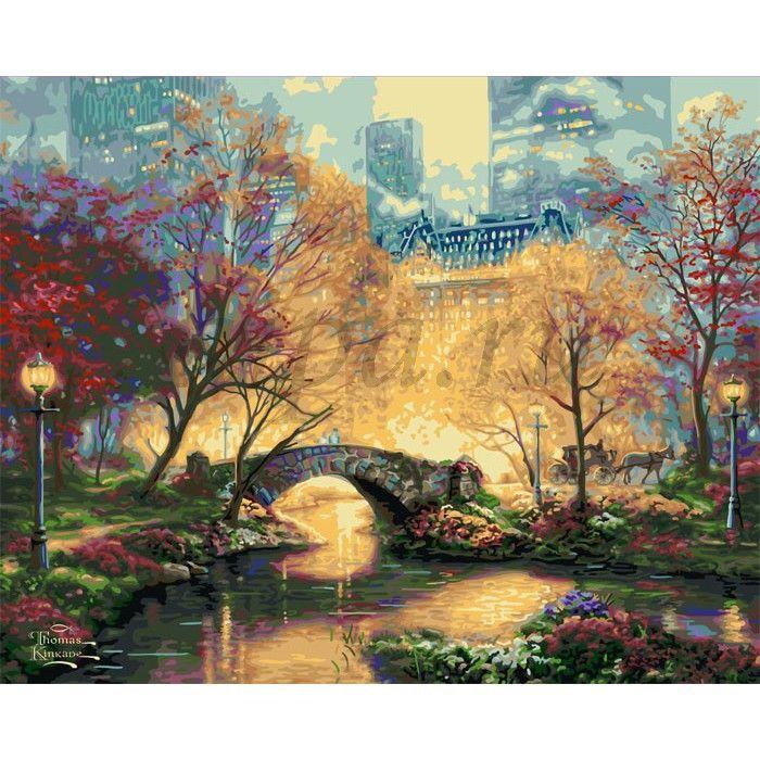 Центральный парк осенью Раскраска картина по номерам Plaid ...