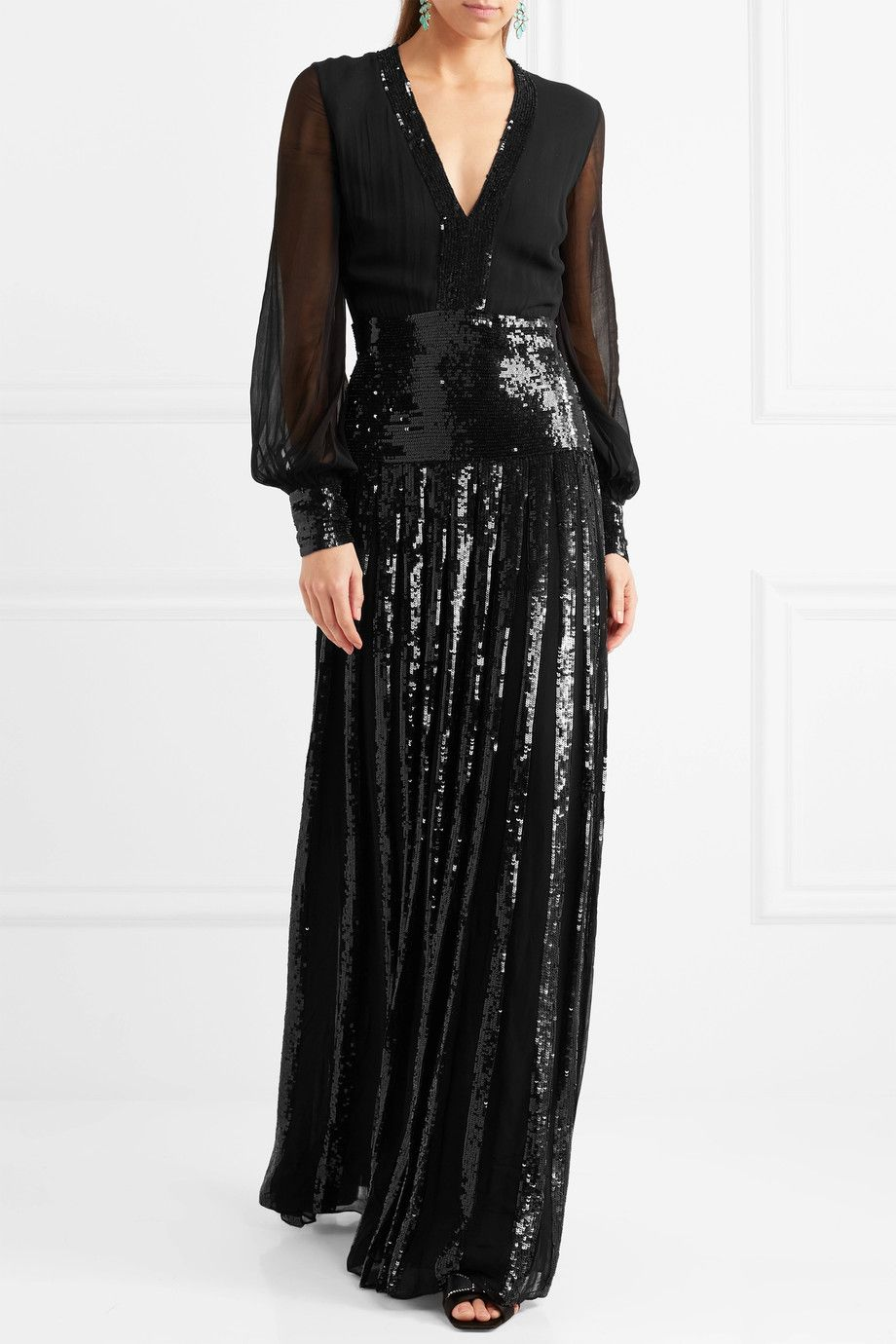 Filigree Pleated Sequined Chiffon Gown - Black Temperley London h1kVR
