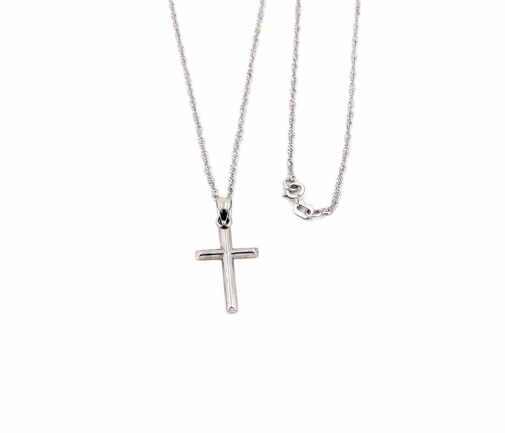 Jesus 14K Solid Yellow Gold Crucifix Cross Pendant Singapore Chain Necklace Set