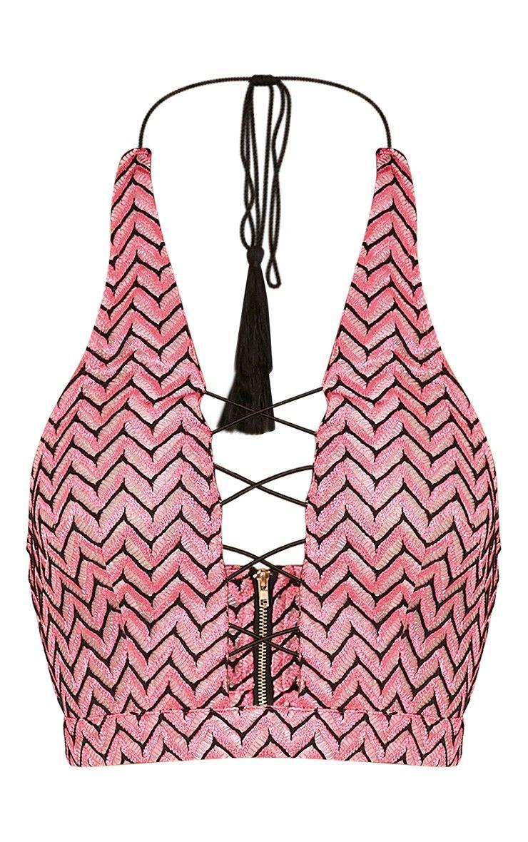 Priscilla Pink Lace Up Halterneck Crop Top Image 4