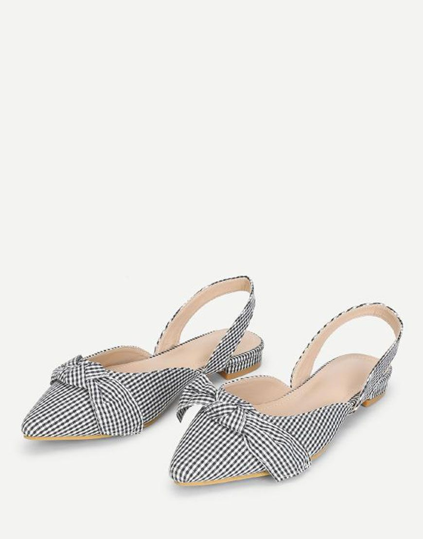 4bc426f2a3cd8c Gingham Print Pointed Toe Flats  womenshoes  toeflats  womenflats
