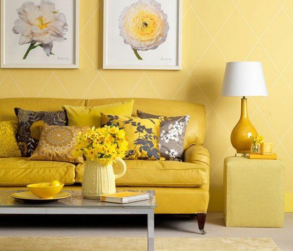 Farben Wandgestaltung Gelb Sofa Lampenfuß