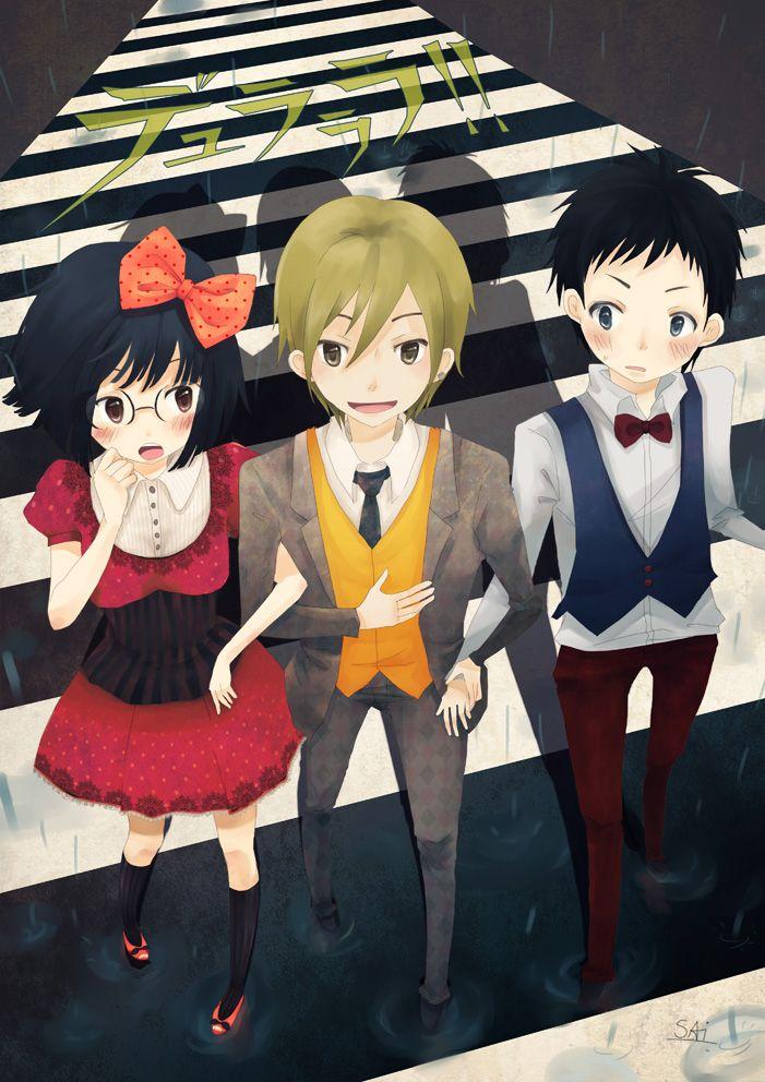 DRRR!! Anri, Mikado, and Masaomi crossing by LoveSoup