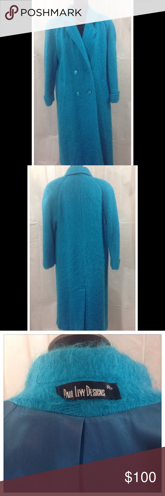 "Turquoise Winter Coat This beautiful turquoise coat is very unique in color. It's missing it's tags, but is a cashmere/wool blend and Dry clean only. I wear it comfortably at a size 14. Chest and hips measure 46"". Paul Ivy Designs Jackets & Coats"