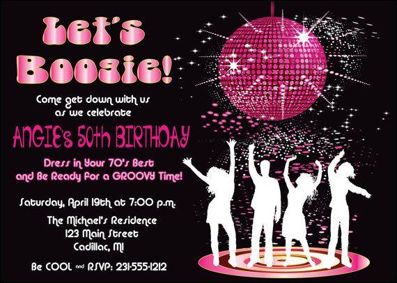 Disco Dance Birthday Party Invitation by FabPartyPrints Retro 70s