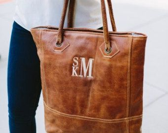 Monogrammed Leather Tote