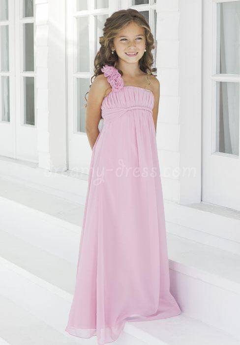 Blushing A-line One Shoulder Junior Bridesmaid Dress | flower girl ...