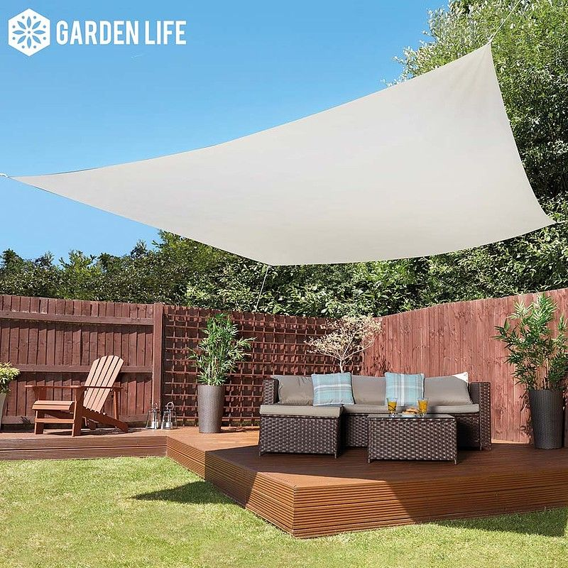 Garden Life 3Metre Square Waterproof Sun Shade Sail  Cream is part of Sun Shade garden -  Waterproof; Protects you from rain or sun all year round Protective; UPF 50+ so it protects you from up to 98 per cent of harmful UV rays Easy to install; Includes cords, Drings and a full pictorial installation guide Wide coverage; Measures 3 x 3 metres to provide a large coverage area of shade Guarantee; 12month guarantee