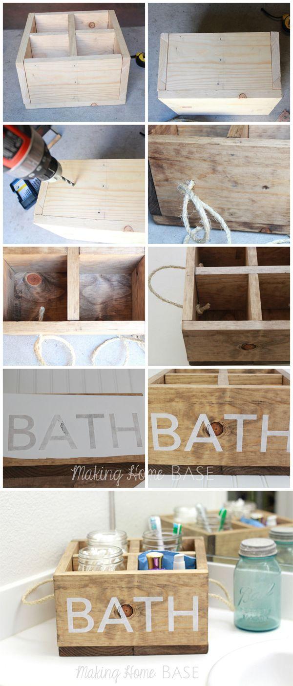 Wood Caddy with Rope Handles for the Bathroom | Baños, Barcos de ...