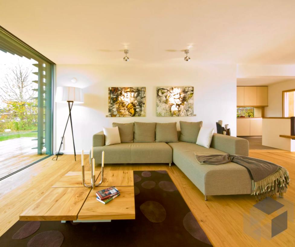 Wohnzimmer Inspiration aus einem Baufritz Haus mit einer großen ...