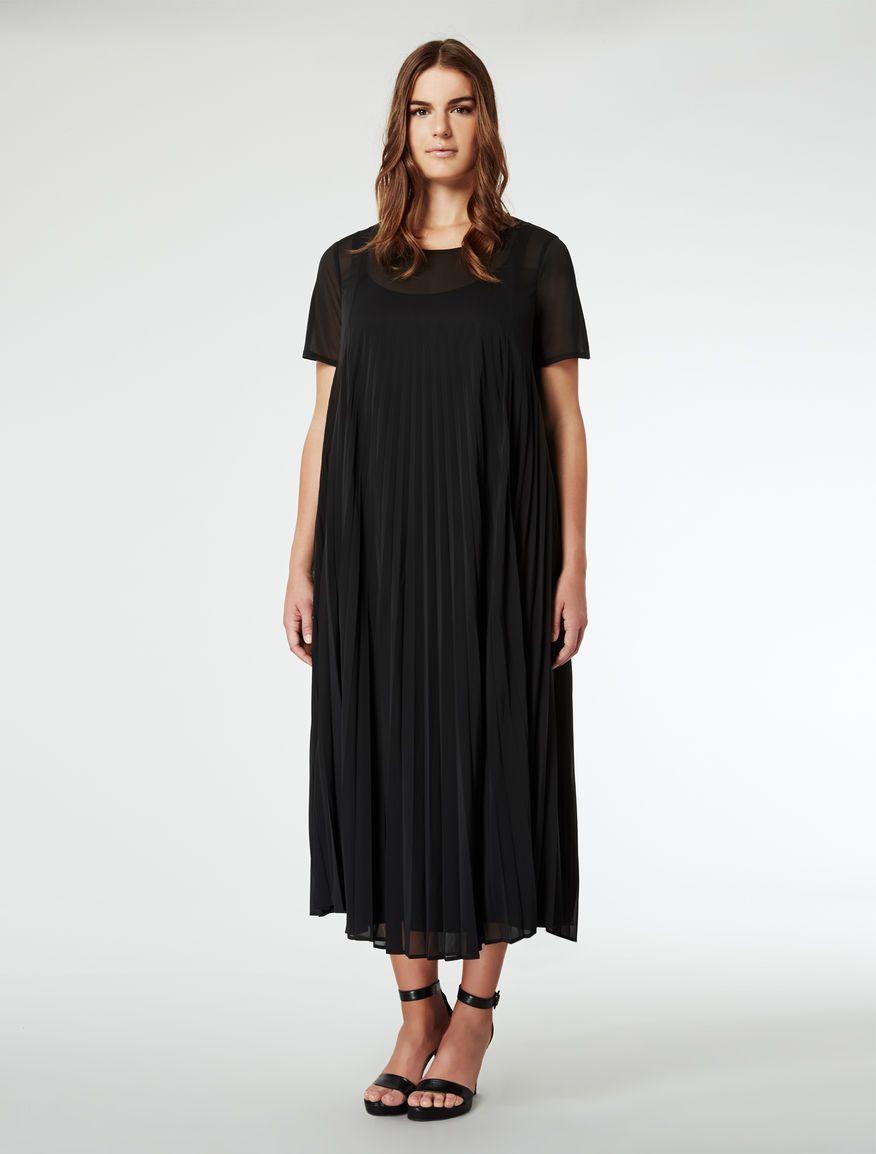 scarpe di separazione b32dd 6da96 Marina Rinaldi OLGA nero: Abito lungo plissettato. | moda ...