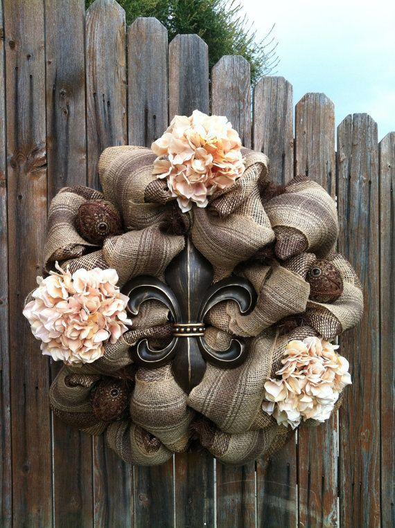 Deco Mesh Fleur De Lis Wreath Chocolate Brown Cream Flowers Jeweled Ornaments Home Decor