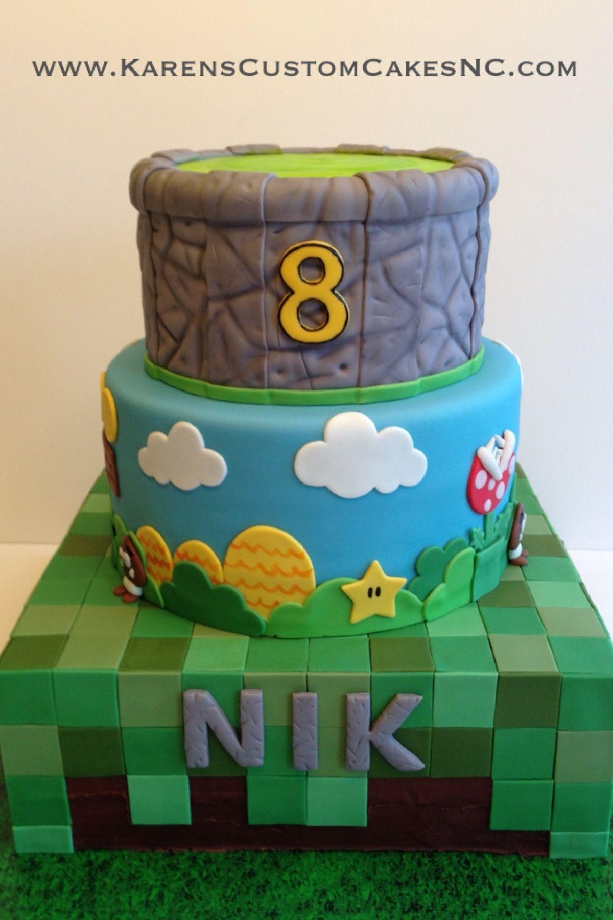 Video game themed cake Minecraft Super Mario Bros and Skylanders