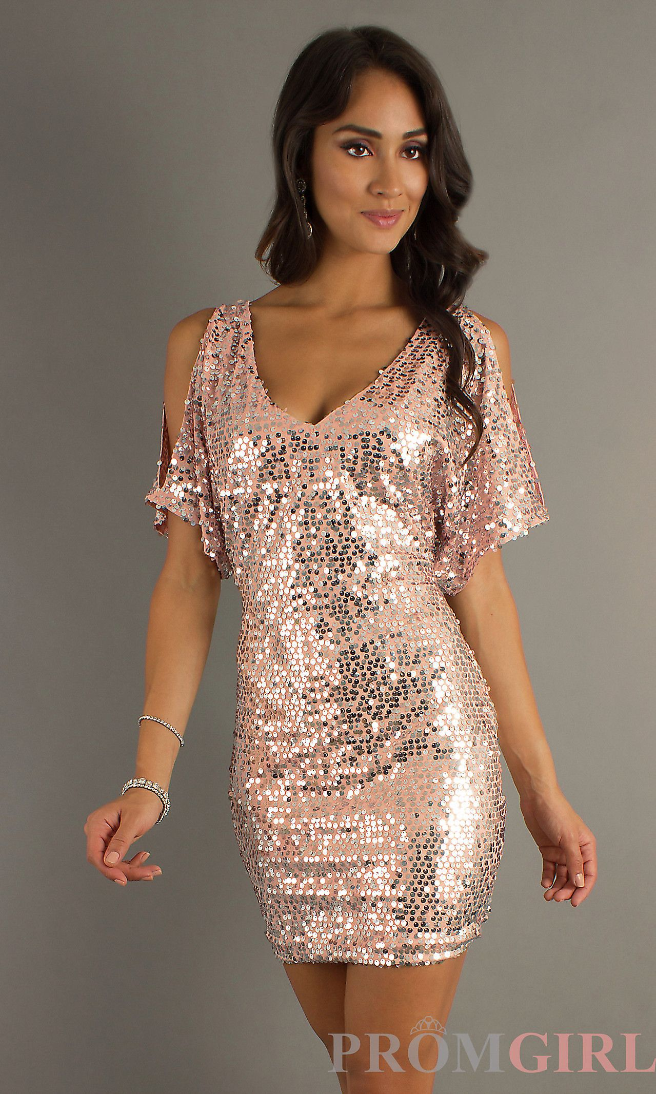 9b13d4ba464 Short Sequin Dress with Sleeves