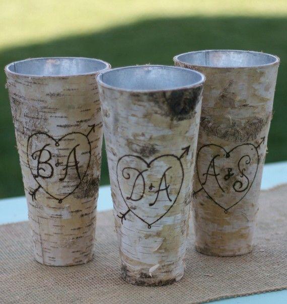 Birch bark wood vase wrap.