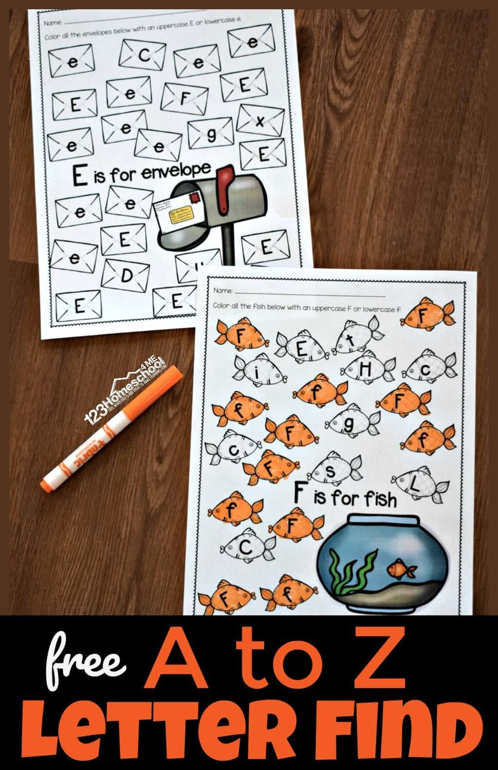 A To Z Letter Find Worksheets
