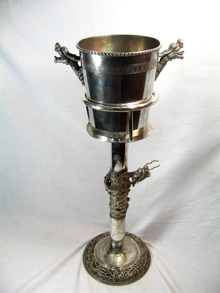 Impressive Old Vintage Chinese Design Wine Champagne Bucket Stand 2 5ft Tall Wine Bucket Wine Bucket Stand Champagne Buckets