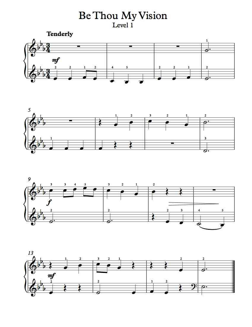 Free Piano Arrangement Be Thou My Vision Level 1 Sheet Music