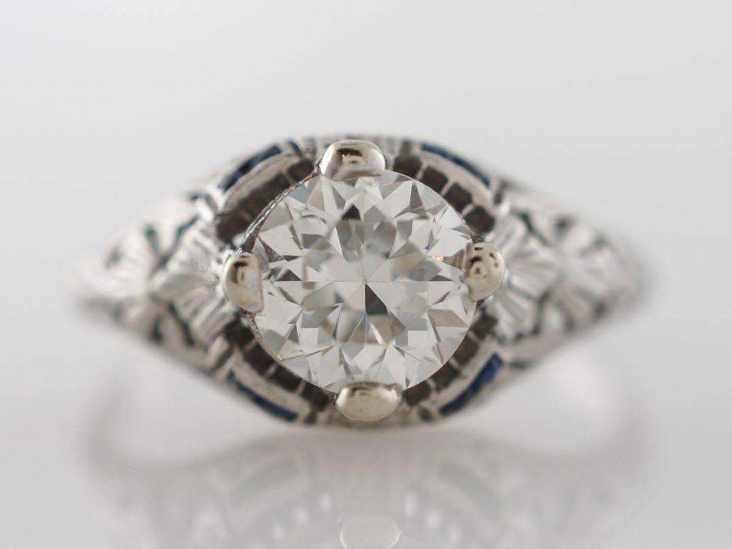 Photo of Art Deco Diamond & Sapphire Engagement Ring in Platinum