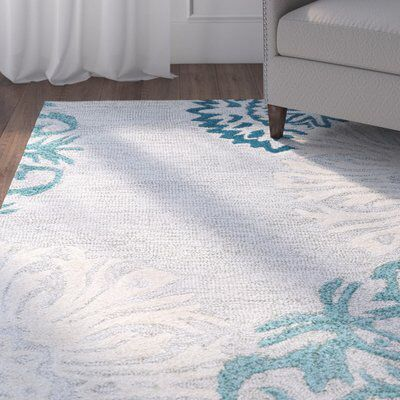 Brian Floral Handmade Tufted Wool Blue Tan Area Rug In 2020 Area Rugs Yellow Area Rugs Blue Area Rugs