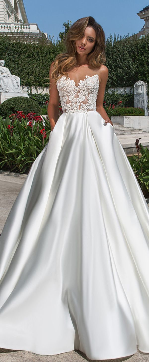 Wonderful tulle u satin bateau neckline aline wedding dress with