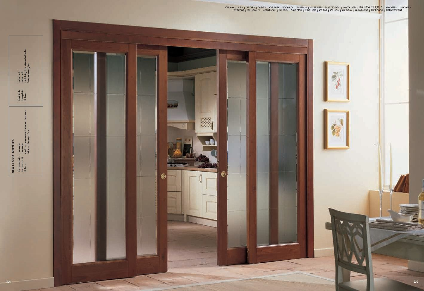 Decofurnish Com Interior Sliding French Doors Frosted Glass Door With Wooden Trim For Home Decoration