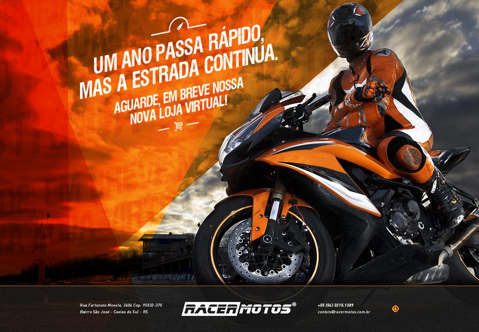 Página de espera para site de e-commerce Racer Motos.