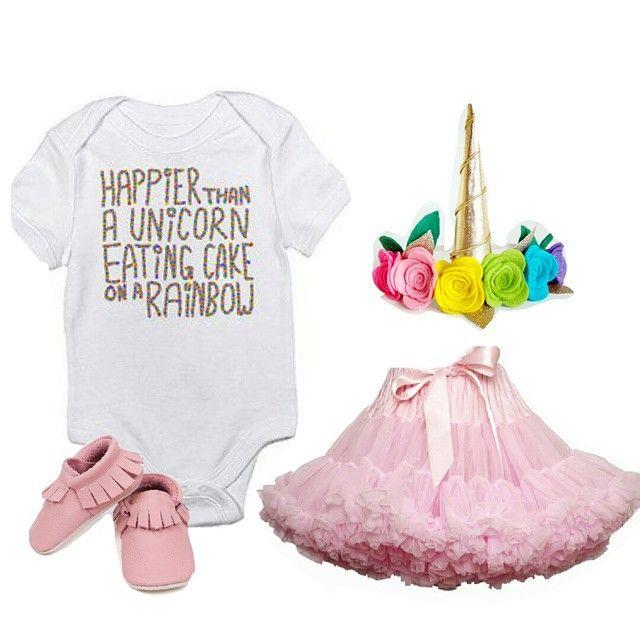 Little baby girl outfit #flatlay inpiration for this beautiful #Friday .  #tutuskirt #babymoccs #unicornheadband #unicornhorn
