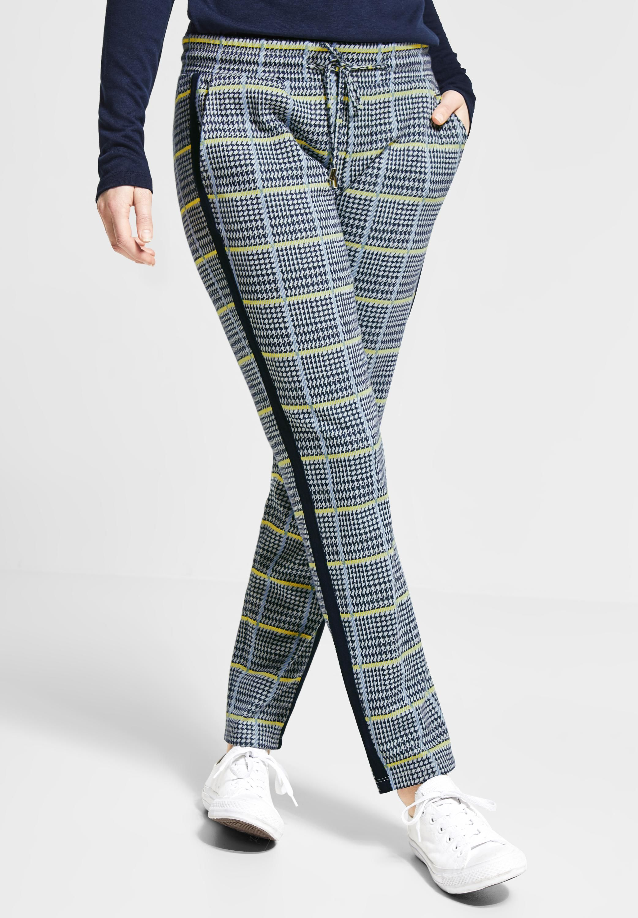 Street One Karo Joggpants Fay in Deep Blue | Damenhosen