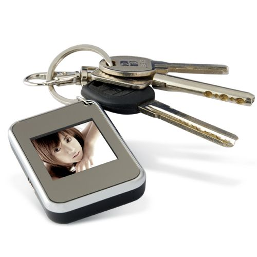 Mini Keychain Digital Picture Frame (1.5 Inch CSTN Screen, Silver ...