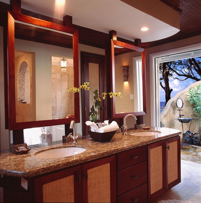 elegant bathroom with double sinks and marble countertops in cottage 3 at jamaica inn http