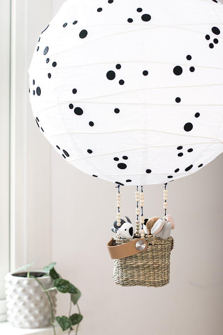 IKEA hack DIY balloon lamp for the kids room by hacking Regolit from IKEA Luftballongslampa IKEAhack  ikea nursery hacks  hot air balloon nursery decor