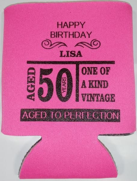 Aged to Perfection 50th Birthday party favors can coolers 1119617653