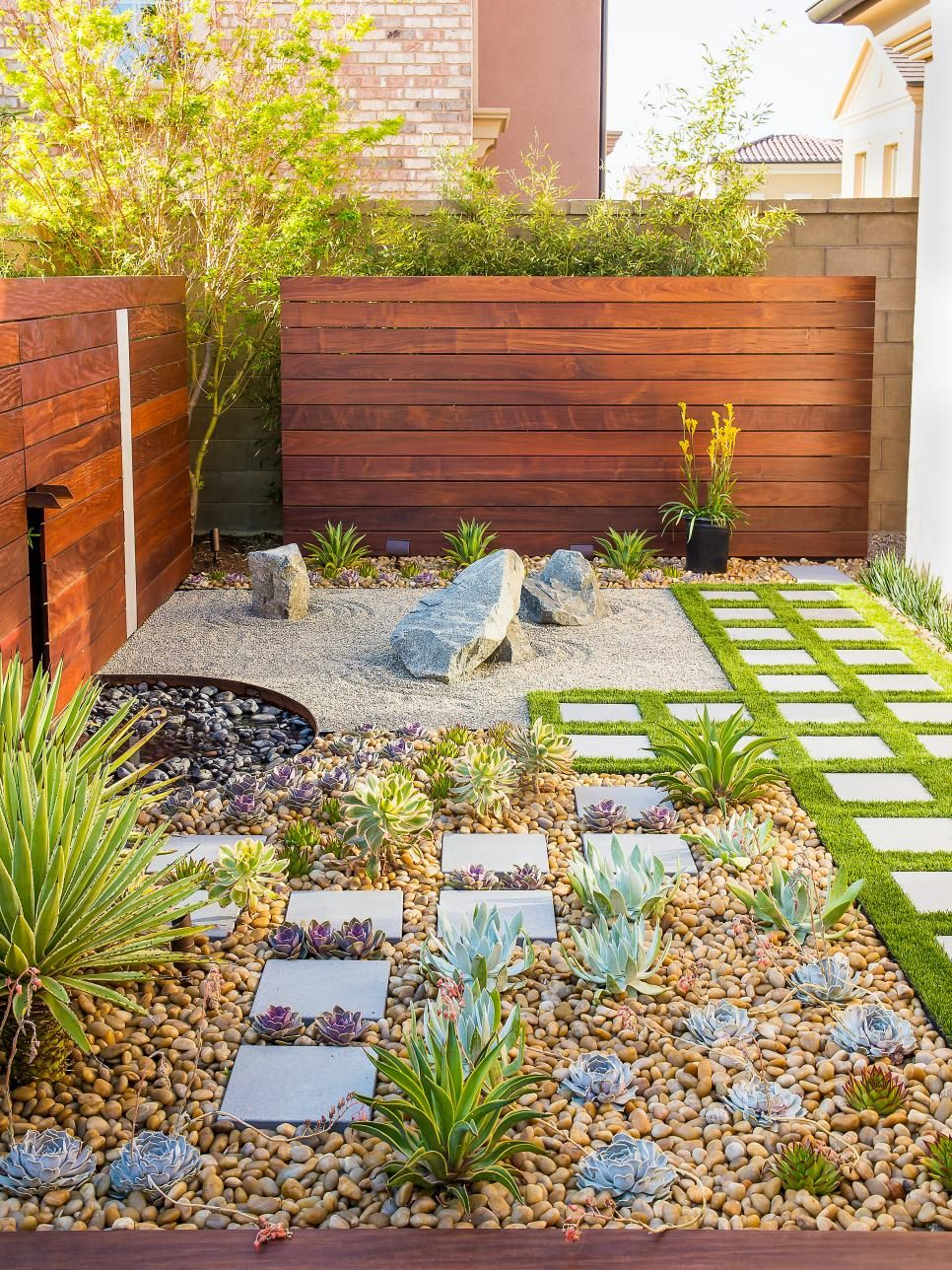 california zen rock garden with ipe wood water feature ipe wood