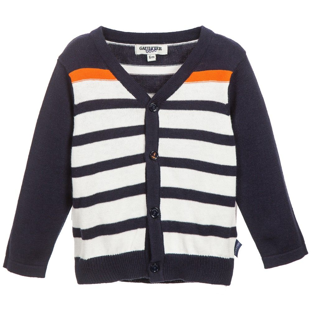 Junior Gaultier Baby Boys Navy Blue Breton Stripes Cardigan at Childrensalon.com